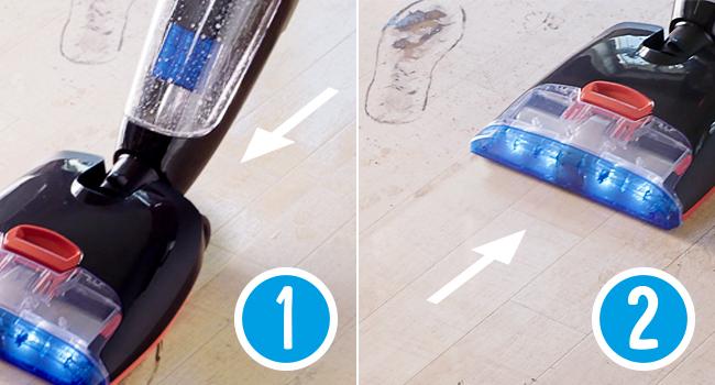 Vorwärts: Saugen und Wischen gleichzeitig. Rückwärts: Wischen und Trocknen.