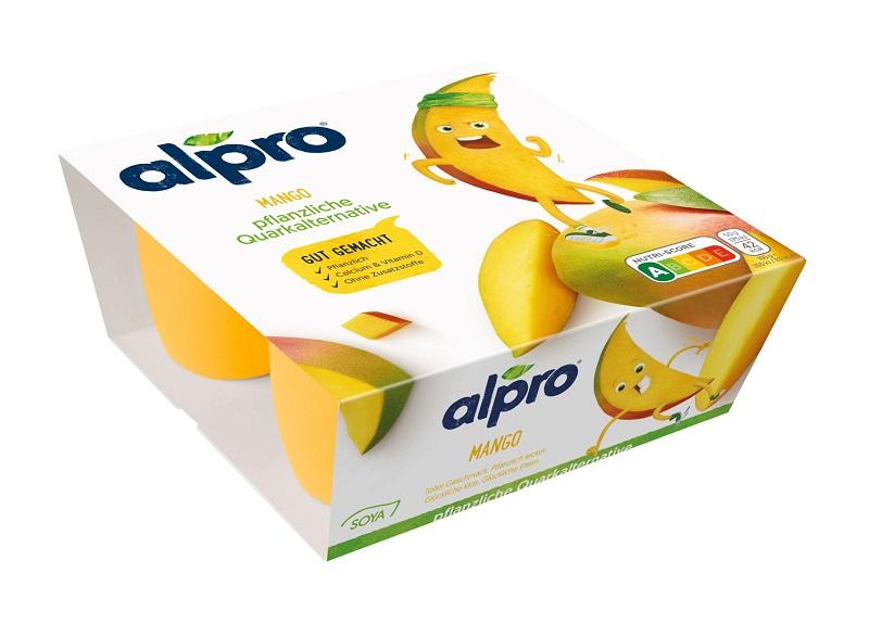Die Alpro KIDS pflanzliche Quarkalternative gibt es in den Geschmacksrichtungen Erdbeere und Mango. Bild: Alpro
