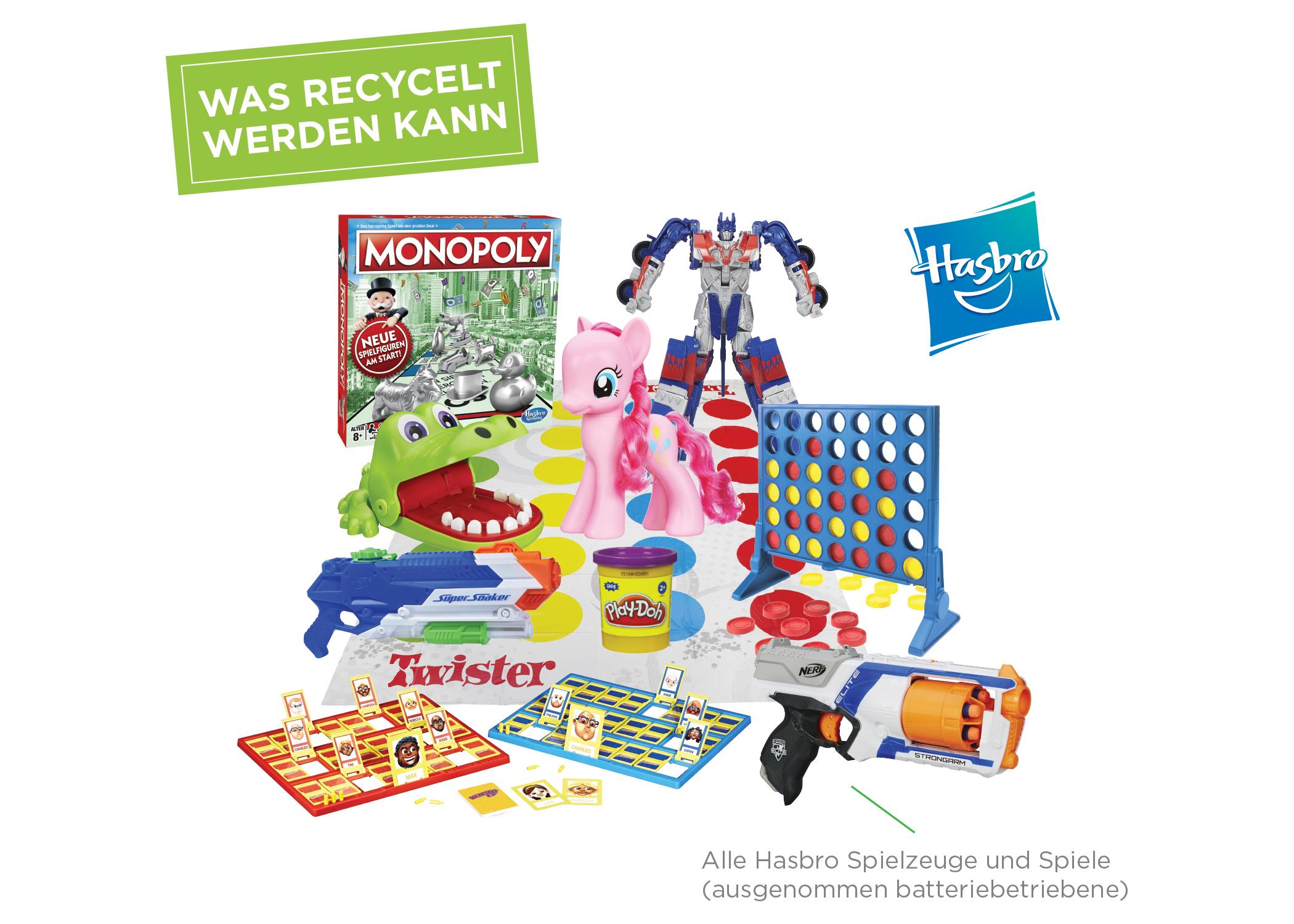 Im Rahmen des Spielzeug-Recycling-Programms von Hasbro könnt ihr ab sofort alle Spielzeuge und Spiele des Herstellers, die nicht batteriebetrieben sind, zur Wiederverwertung zurückgeben. Geniale Idee! Bild: Hasbro