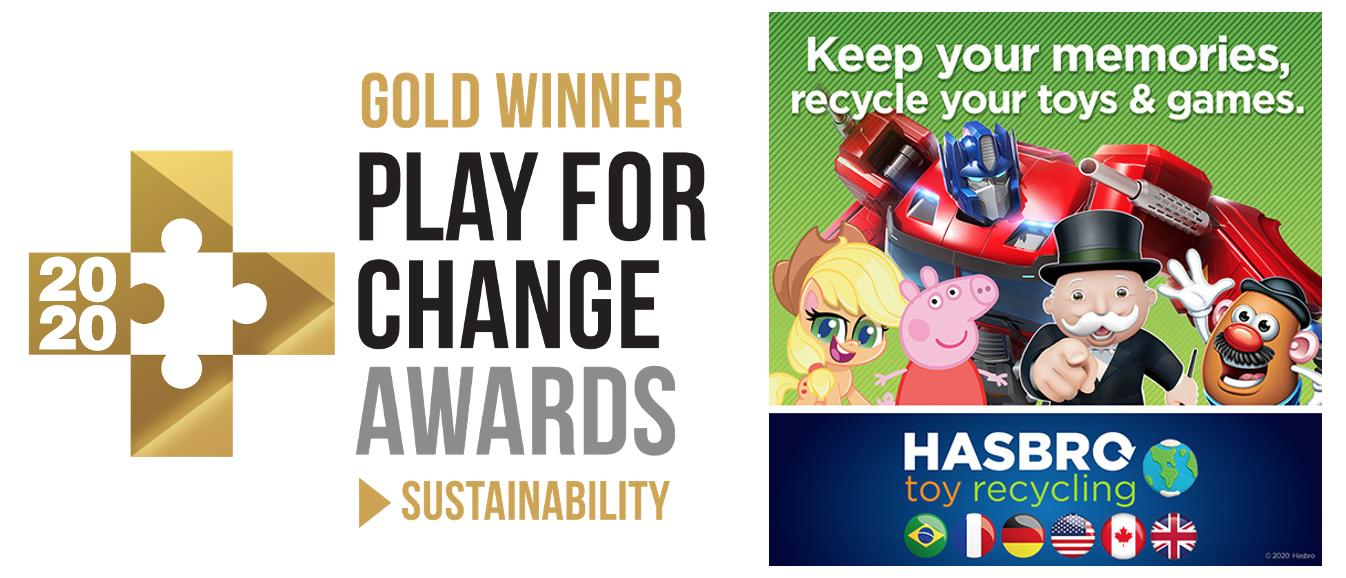 In der Kategorie Nachhaltigkeit der Play For Change Awards werden Initiativen und Spielzeug ausgezeichnet, die Nachhaltigkeit vermitteln oder nachhaltige Praxis anwenden. Hasbro erhielt in dieser Kategorie den Gold Award für sein Spielzeug-Recycling- Programm. Bild: Hasbro