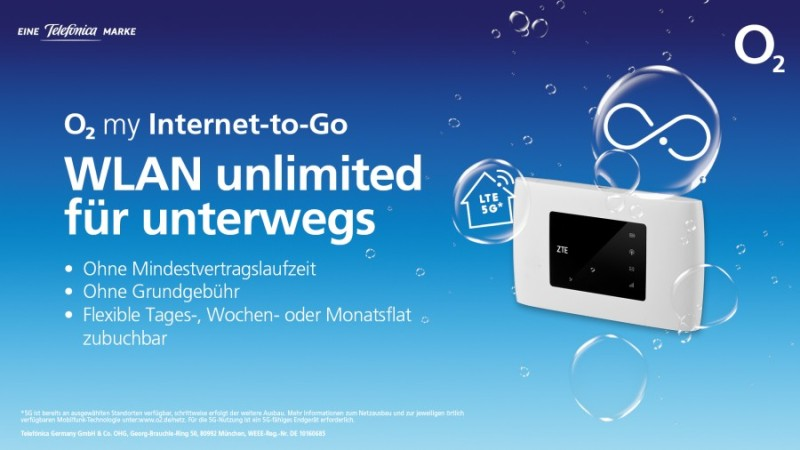 Den mobilen Router gibt es für einen Aufpreis von nur 30 Euro dazu. Er verwandelt das Signal der SIM-Karte in WLAN für bis zu zehn Geräte. Bild: o2