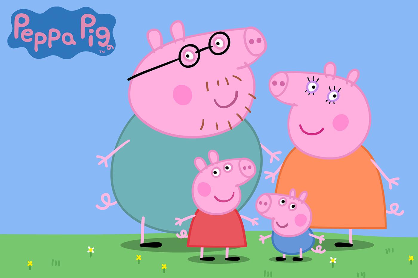 Papa Wutz, Mama Wutz, Peppa und Schorsch sind eigentlich in jeder Folge dabei. Bildquelle: Peppa Pig © Astley Baker Davies Ltd/Entertainment One UK Ltd 2003
